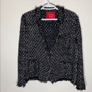 Lanvin Ete 2012 boucle tweed jacket - black white